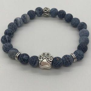 Jewelry - 🐾 Natural Stone Bracelet with Dog Paw Charm🐾